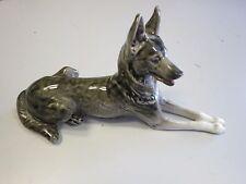 USSR Vintage pottery figurine of a reclining Alsation dog- GR
