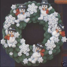 Ceramic Bisque Ready to Paint Christmas Snowman Wreath