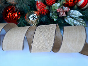 CHRISTMAS WIRED EDGE RIBBON 2.5 IN WIDE HESSIAN TREE WRAP GIFT WRAPPING BULK
