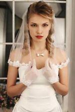Perle Brautschleier kurze Elegant Spitze 1T Weiß Elfenbein Hochzeit +Kamm 50cm