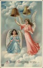 Christmas - Angels Ringing Bells in Clouds c1910 Postcard