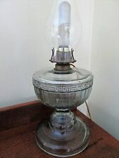 Vintage Electric Oil Lamp Hurricane Clear Pressed Glass Grecian designs heavy