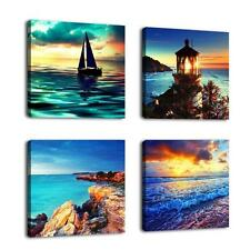 Wall Canvas Lighthouse Sailboat Beach Nautical Sunset Home Picture Decor New