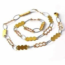 Womens 460mm Silver Long Necklace Fish Chain 3 Tone Gold Filled Free Shipping