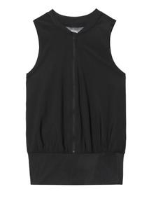 Victoria Secret Sport Training Top Womens Large Black Mesh Full Zip Sleeveless