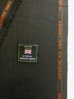 3.5 Metres Dark Grey Striped Super 120's Pure Worsted Wool Suit Fabric. dugdale