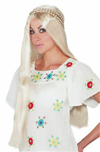 Hippie Girl Long Straight Blonde Wig Braided Accent Funworld