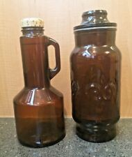 VTG Brown Amber Glass Fleur De Lis Canister Apothecary + Bottle w/ screw top