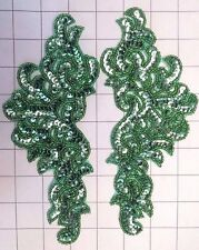 """Pair Mirrored Sage Green Beaded Sequins Appliques Sew on 8"""" x 3.5"""""""