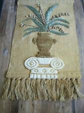 "48"" I. C. A. WOOL Tapestry weaving wall hanging art Jute India Boho FERNS"