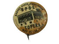 """Antique 1909 TOPEKA Kansas State BPOE Elks 1-3/4"""" Pinback Pin Button Badge  K2"""
