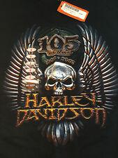 *NEW* Harley Davidson Cajun Lafayette, LA Louisiana T Shirt Skull 105 Years Sz L
