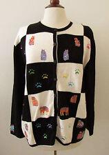 Womens TERAZZO Black & White Embroidered Cat Kitten Sweater ~ Medium (O32)