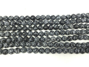"""1 Strand 6,8,10,12,14mm Natural Snowflake Obsidian Ball Loose Beads 15.5"""" EE3171"""
