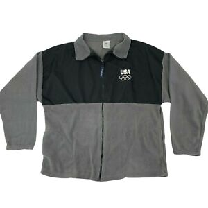 Team USA Olympic Committee Fleece Jacket Men's XXL Black/Gray Athletic Cover Up