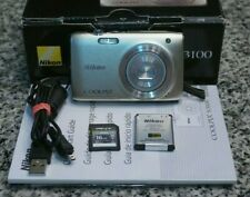 Nikon Coolpix S3100 14MP HD 720p Camera Silver 5x In Box W/ Extras 16GB Tested