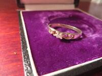 Hübscher 925 Silber Ring Zirkonia Wie Diamant Solitär Filigran Leicht Vergoldet