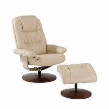 MRC23094 TAUPE BONDED LEATHER RECLINER & OTTOMAN WITH WOOD BASE