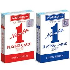 Waddingtons No.1 Classic Playing Cards Red Blue Decks Linen Finish Poker Cards
