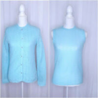 Vintage Japanese Turquoise Twin Set Button Front Cardigan & Shell Sz S Pre-Owned