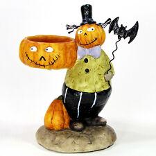 "Yankee Candle PUMPKIN HEAD WITH BAT 6"" Votive Holder Halloween Tea Light"
