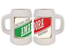 Keramik Bierkrug Retro Metropole Amadora Portugal bedruckt