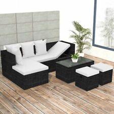 vidaXL Outdoor Corner Sofa Set Wicker Poly Rattan Black Couch Garden Furniture