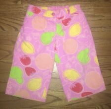 Lilly Pulitzer Toddler Girl's Sz 2T Pink Marzipan Fruit Cropped Capri Pants Vguc
