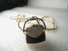 "Vintage Swarovski Signed Black Enamel & Pave Crystal Purse Pendant/Necklace  30"""