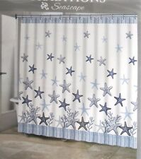 Traditions SEASCAPE Starfish Beach Fabric Shower Curtain Blue Antique White New