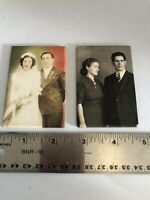Lot Of 2 Vintage Pocket Mirrors With Photos Of Couples Wedding Celluloid Good