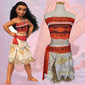 Adult Girls Costume Disney Moana Fancy Dress Princess.Cosplay Deluxe Dress UK~