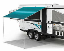 13 ft Campout Bag Awning in Teal Blue Denim Stripes for Pop Up Camper Trailer
