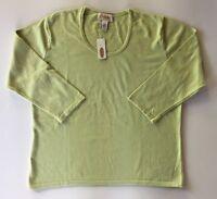 NWT Women's Talbots Pale Green 3/4 Sleeve Sweater-Sz L