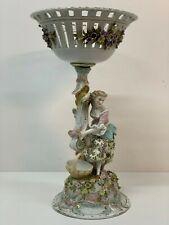 Antique Sitzendorf German Porcelain Figure Centrepiece Vase Bowl Basket  38cm
