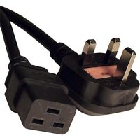 Power Cable UK Mains Lead Fused 13A Plug to IEC C19 BLACK PVC 1.5mm 5m