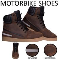 Motorcycle Boots Motorbike Sneaker Shoes Touring Boot Leather Waterproof Brown
