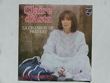45 tours CLAIRE D'ASTA La chanson de Prévert , toi le musicien 6010372