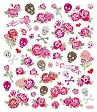 Scrapbooking Crafts Stickers Roses & Skulls Cross Bones Banners Red Pink Rose
