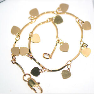 Gold Heart Charms Bracelet Chain Link Bangle for Womens Female Elegant Jewelry