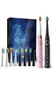 Sboly 2 Sonic Electric Toothbrushes 5 Modes 8 Brush Heads USB Fast Charge