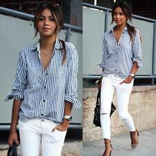 Zanzea Women Lapel V-neck Stripe Cotton Long Sleeve Botton Down Shirt Blouse Top