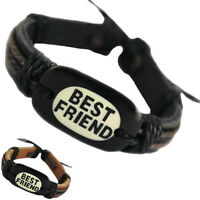 DJ007 adjustable black brown leather bracelet fashion best friend hemp chain new