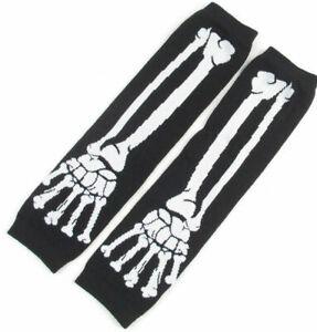 New Long Skull White Black Skeleton Elastic Fingerless Arm Warmers Gloves