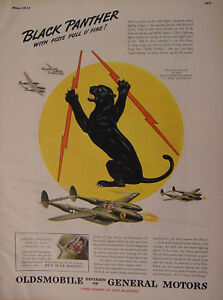1944 Esquire Original Ad WWII Era Oldsmobile Army Air Force Black Panther