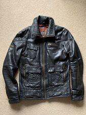 SUPERDRY TARPIT Leather Biker Jacket Size Large  Excellent Condition Black