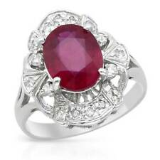 Foreli 14K W/Gold Cocktail Ring 2.90ctw SI Diamonds & Treated Ruby. Size 7. New