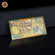 WR Colorized Thailand 50 Baht 24K Gold Banknotes World Money Currency Note Bill