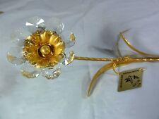 KG&C inc  -  24K gold plated  -  Long Stemmed Flower w Austrian Crystals