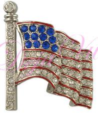 Large Crystal Patriotic American Flag Brooch Made With Swarovski Elements
